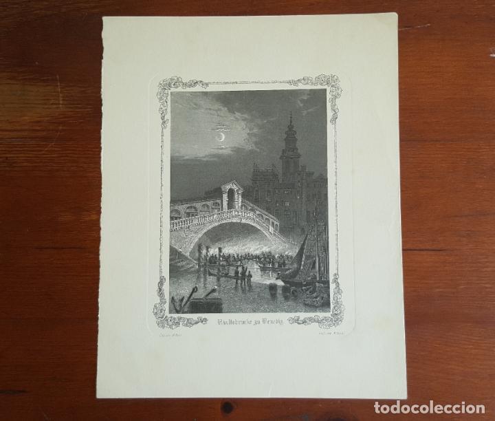 Arte: Grabado antiguo M. Kurz. Puente de Rialto en Venecia. - Foto 2 - 120032443