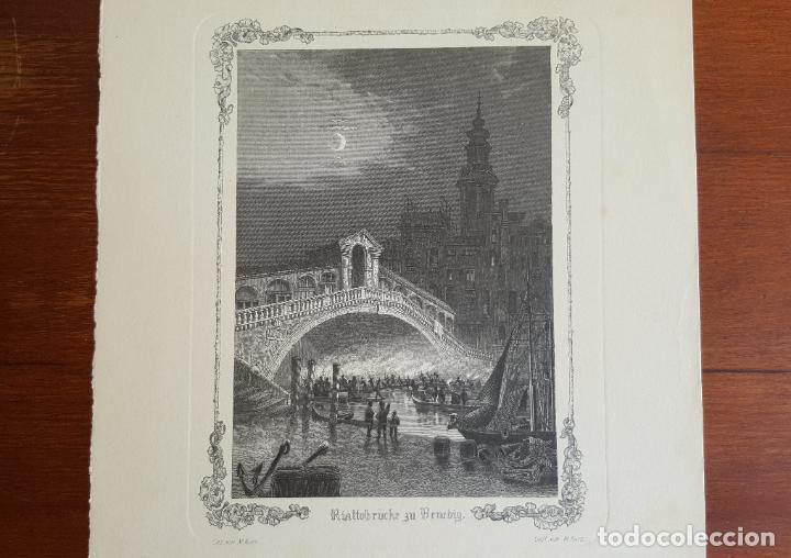 Arte: Grabado antiguo M. Kurz. Puente de Rialto en Venecia. - Foto 3 - 120032443
