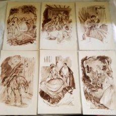 Arte: LOTE DE ANTIGUAS ILUSTRACIONES DE FLORIT, EXTRAÍDAS DEL LIBRO LO QUE EL VIENTO SE LLEVÓ / 19X11,5CM. Lote 120835619
