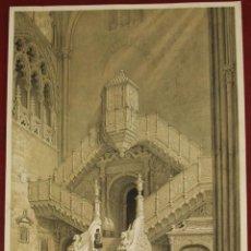 Arte: ESCALERA DORADA DE LA CATEDRAL DE BURGOS (ESPAÑA), 1865. PÉREZ VILLAAMIL. Lote 121173007