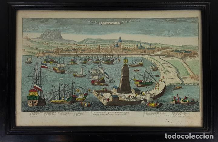 PUERTO DE BARCELONA CIUDAD. GRABADO COLOREADO SOBRE PAPEL. SIGLO XVIII-XIX. (Arte - Grabados - Antiguos hasta el siglo XVIII)