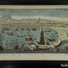 Arte: PUERTO DE BARCELONA CIUDAD. GRABADO COLOREADO SOBRE PAPEL. SIGLO XVIII-XIX. . Lote 121954339