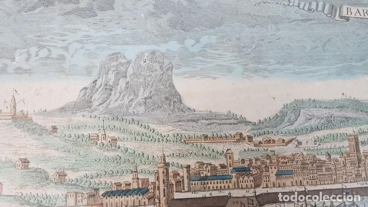 Arte: PUERTO DE BARCELONA CIUDAD. GRABADO COLOREADO SOBRE PAPEL. SIGLO XVIII-XIX. - Foto 3 - 121954339