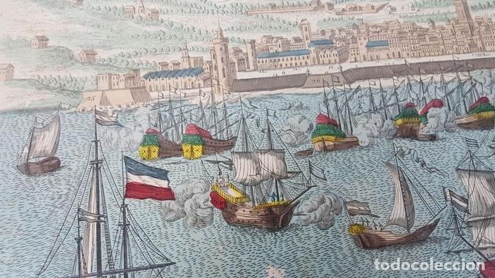 Arte: PUERTO DE BARCELONA CIUDAD. GRABADO COLOREADO SOBRE PAPEL. SIGLO XVIII-XIX. - Foto 4 - 121954339