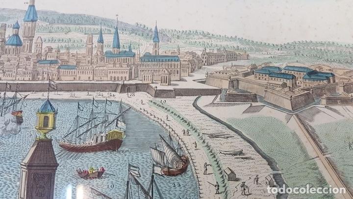 Arte: PUERTO DE BARCELONA CIUDAD. GRABADO COLOREADO SOBRE PAPEL. SIGLO XVIII-XIX. - Foto 7 - 121954339