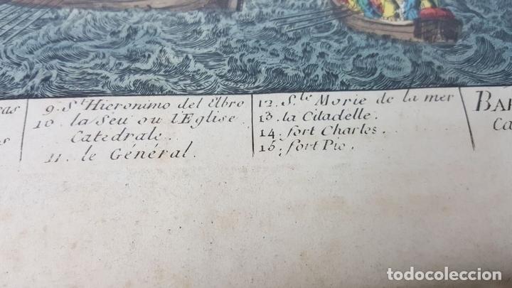 Arte: PUERTO DE BARCELONA CIUDAD. GRABADO COLOREADO SOBRE PAPEL. SIGLO XVIII-XIX. - Foto 10 - 121954339