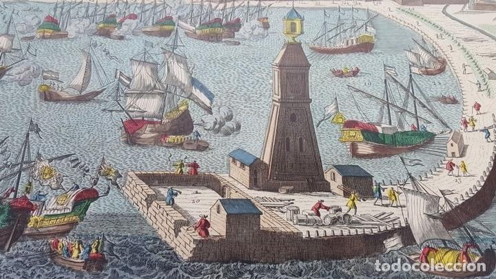 Arte: PUERTO DE BARCELONA CIUDAD. GRABADO COLOREADO SOBRE PAPEL. SIGLO XVIII-XIX. - Foto 13 - 121954339
