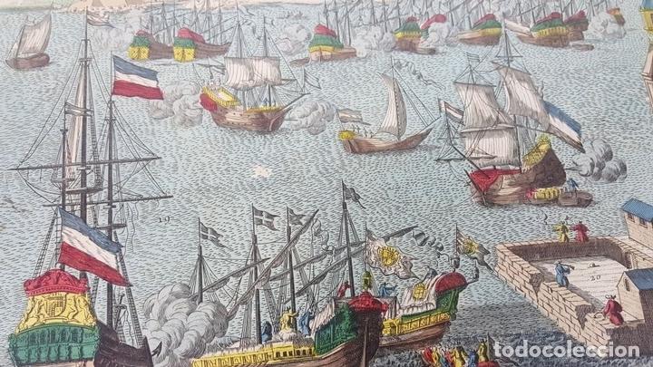 Arte: PUERTO DE BARCELONA CIUDAD. GRABADO COLOREADO SOBRE PAPEL. SIGLO XVIII-XIX. - Foto 14 - 121954339