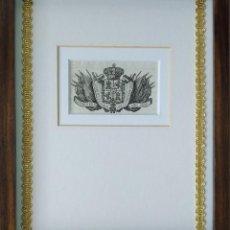 Arte: GRABADO AL AGUAFUERTE. EMBLEMA FISCAL DE ISABEL II PARA ULTRAMAR. AÑO 1840. ENMARCADO. Lote 122489863
