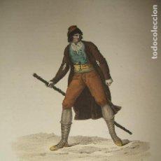 Arte: BURGOS MERCADER DE GANADO GRABADO ILUMINADO CHASSELAT HACIA 1800. Lote 122563975