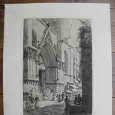 Arte: GRAN GRABADO DE LA BASÍLICA DE SANTA MARÍA DEL MAR (BARCELONA, ESPAÑA), 1919. ALEX HERMAN HAIG. Lote 122592911
