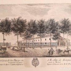 Arte: GRABADO LA CASA DE LAS BACAS. ARANJUEZ - AÑO 1775 - ORIGINAL. Lote 122953835