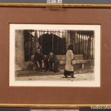 Arte: GRABADO PERSONAJES EN LA CALLE RICARDO BAROJA 1871 1953 FIRMADO SELLO AGUA CÍRCULO BELLAS ARTES. Lote 124019783