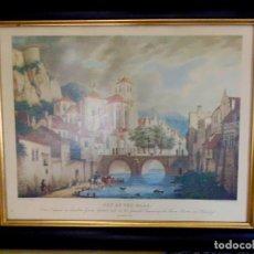 Arte: CUADRO CON GRABADO ANTIGUO - HUY AN DER MAAS.- DE CLARKSON STANFIELD .AÑO 1838. TAMAÑO 68X48 CMS. Lote 124036231