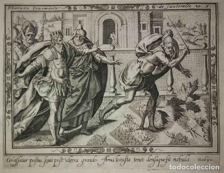 Arte: 8 Grabados EXODUS Jean Le Clerc 1611 Pasajes bíblicos. Judaica - Foto 10 - 114225371