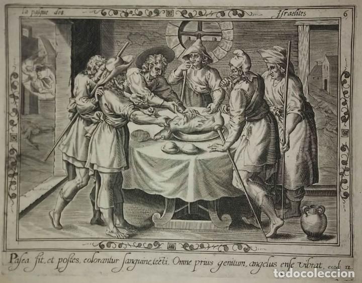Arte: 8 Grabados EXODUS Jean Le Clerc 1611 Pasajes bíblicos. Judaica - Foto 12 - 114225371