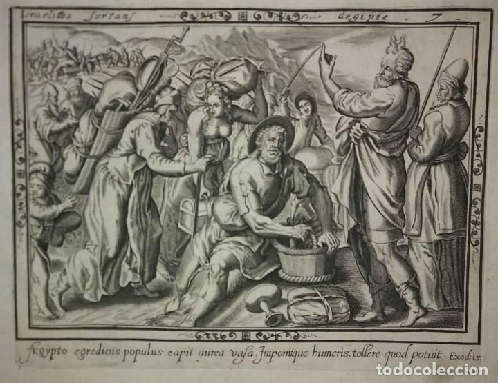 Arte: 8 Grabados EXODUS Jean Le Clerc 1611 Pasajes bíblicos. Judaica - Foto 14 - 114225371