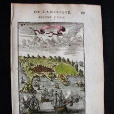 Arte: VISTA DE LA CIUDAD DE ANGRA ( ISLA TERCEIRA, AZORES, PORTUGAL), 1683. MALLET. Lote 125313995