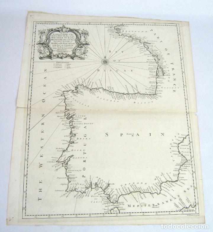 Golfo De Vizcaya Mapa.50 Cm Grabado S Xviii Mapa Carta Golfo De Vizcaya Peninsula Iberica Espana Portugal Y Francia