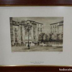 Arte: CUADRO CON GRABADO DE LA PLAZA DEL MERCADO DE LOGROÑO DE AGUADO. Lote 125842099