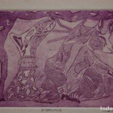 Arte: FJ CASTILLO MÁLAGA 1961GRABADO AGUAFUERTE Y AGUATINTA DE 12X16 PAPEL 40X32, PA. DIVERGENCIA.. Lote 125911431