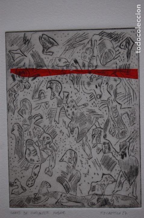 FJ CASTILLO MÁLAGA 1961GRABADO AGUAFUERTE Y COLLAGE DE 12X16 PAPEL 30X40, PA.GENTE CUALQUIER LUGAR. (Arte - Grabados - Contemporáneos siglo XX)