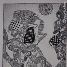 Arte: FJ CASTILLO MÁLAGA 1961GRABADO AGUAFUERTE DE 17X25 PAPEL 33X38, PA .ASTRONAUTA Y PAYASO.. Lote 125913251