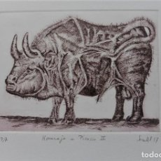 Arte: PUNTA SECA SOBRE COBRE HOMENAJE A PICASSO DE SECALL (CARLOS ESTEVE) 19 X 30 CM. Lote 125921823