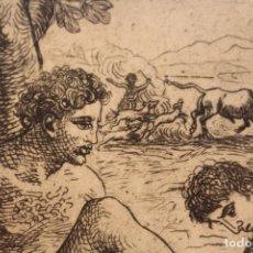 Arte: PRECIOSO GRABADO ENMARCADO MEDIADOS SIGLO XX / CURIOSO/ TEMÁTICA GRIEGA/ ESCENAS ODISEA DE HOMERO. Lote 125946267