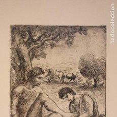Arte: PRECIOSO GRABADO MEDIADOS SIGLO XX / CURIOSO/ TEMÁTICA GRIEGA/ ESCENAS ODISEA DE HOMERO. Lote 131342085
