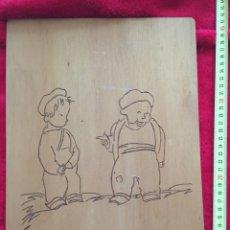 Arte: CASTELAO,ARTISTA GALLEGO.COLECCIÓN 4 TABLAS MADERA TÉCNICA PIROGRABADO. Lote 126023007