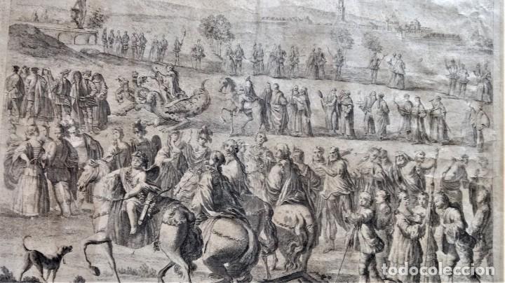 Arte: GRABADO ORIGINAL,SIG.XVIII,AÑO 1764, REY CARLOS III EN BARCELONA,MASCARA REAL,DE FRANCISCO TRAMULLAS - Foto 6 - 126116827
