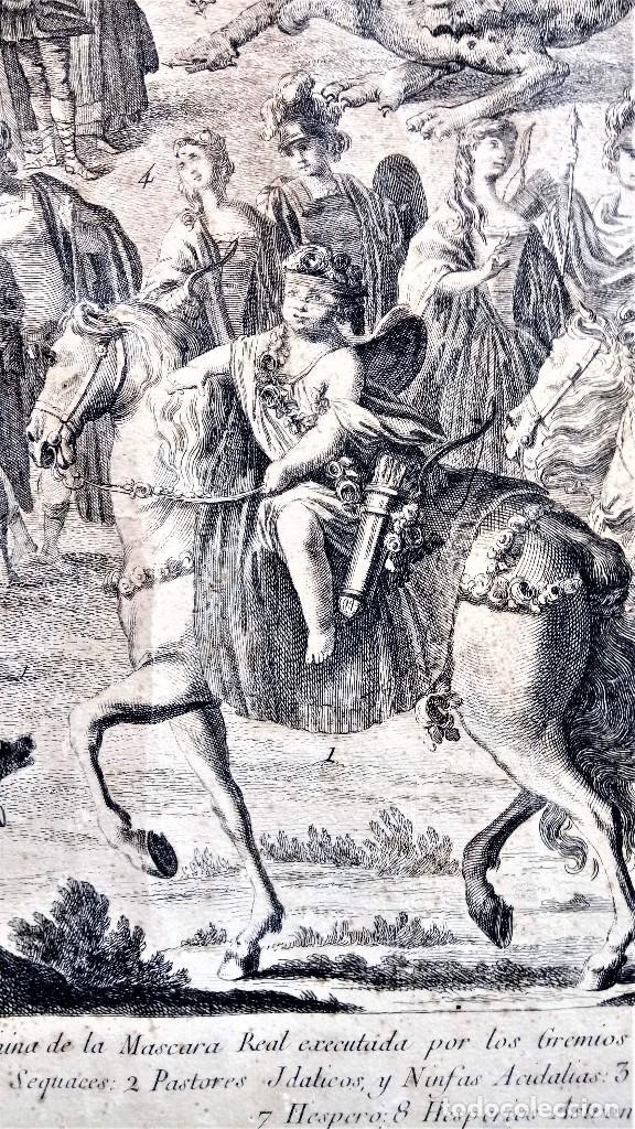 Arte: GRABADO ORIGINAL,SIG.XVIII,AÑO 1764, REY CARLOS III EN BARCELONA,MASCARA REAL,DE FRANCISCO TRAMULLAS - Foto 5 - 126116827