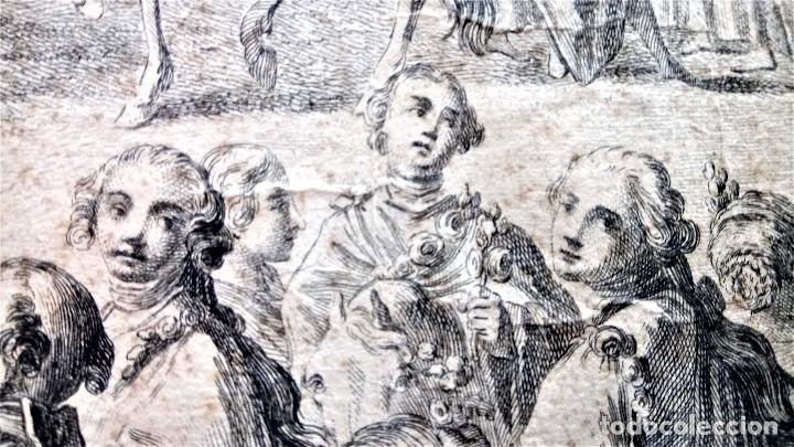 Arte: GRABADO ORIGINAL,SIG.XVIII,AÑO 1764, REY CARLOS III EN BARCELONA,MASCARA REAL,DE FRANCISCO TRAMULLAS - Foto 4 - 126116827