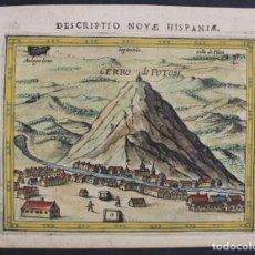 Arte: VISTA DE LA CIUDAD Y CERRO DE POTOSÍ (BOLIVIA, AMÉRICA DEL SUR), 1602. BERTIUS/HONDIUS. Lote 126293455
