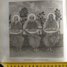Arte: MONTE ATHOS - GRECIA 1869 - GRABADO ORGINAL DE PUBLICACION - LOS TRES PATRIARCAS DE LAVRA RELIGIOSO. Lote 126380907