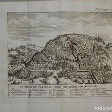 Arte: VISTA DE LA CIUDAD DE FRASCATI Y ALREDEDORES (ROMA, ITALIA, EUROPA), 1743. ROGISSART/MORTIER. Lote 126403635