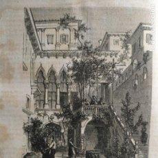 Arte: VENECIA 1869 - GRABADO ORGINAL DE PUBLICACION - PATIO DEL PALACIO SALVIATI. Lote 126424871