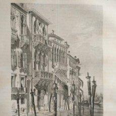 Arte: VENECIA 1869 - GRABADO ORGINAL DE PUBLICACION - PALACIO DE FERRO. Lote 126426887