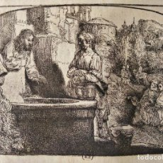 Arte: GRABADO DE REMBRANDT, CRISTO CON LA MUJER DE SOMARIA 1658, CUÑO COLECCIÓN PRIVADA, PAPEL VERJURADO. Lote 127113899