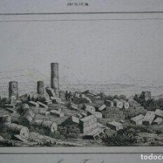 Arte: VISTA DE LAS RUINAS DEL TEMPLO DE ZEUS, AGRIGENTO, SICILIA, ITALIA, 1840.. Lote 127123319
