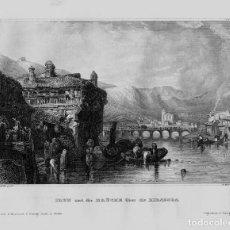 Arte: VISTA DE LA CIUDAD DE IRUN (GUIPUZCOA, ESPAÑA), 1840. STAHLSTICH Y METZECHT.. Lote 127124135