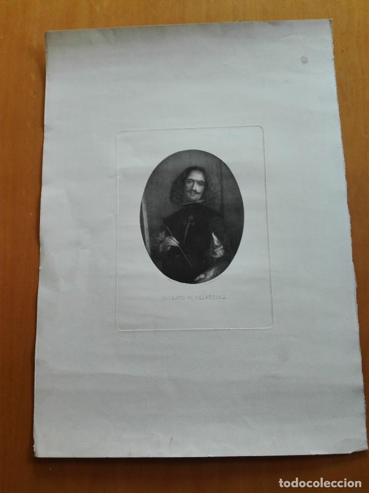 RETRATO DE VELÁZQUEZ, FEDERICO NAVARRETE DIBUJÓ Y GRABÓ.CALCOGRAFIA NACIONAL. AGUAFUERTE. CA 1870 (Arte - Grabados - Modernos siglo XIX)