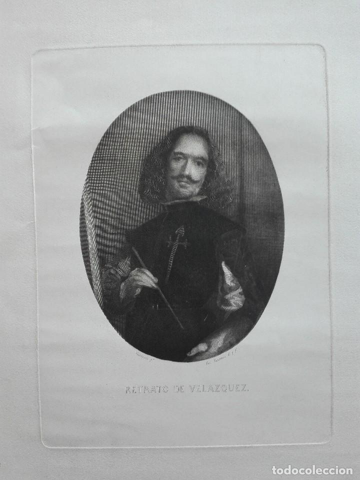 Arte: Retrato de Velázquez, Federico Navarrete dibujó y grabó.Calcografia Nacional. Aguafuerte. Ca 1870 - Foto 2 - 127126355