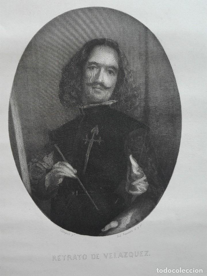 Arte: Retrato de Velázquez, Federico Navarrete dibujó y grabó.Calcografia Nacional. Aguafuerte. Ca 1870 - Foto 3 - 127126355