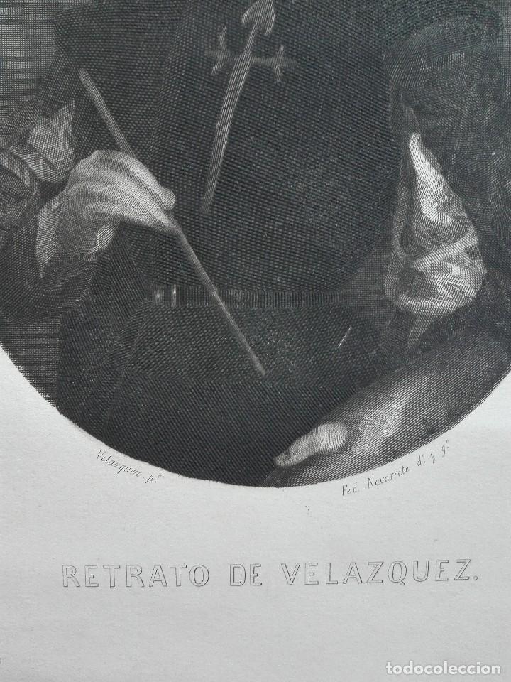 Arte: Retrato de Velázquez, Federico Navarrete dibujó y grabó.Calcografia Nacional. Aguafuerte. Ca 1870 - Foto 4 - 127126355