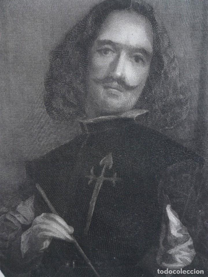 Arte: Retrato de Velázquez, Federico Navarrete dibujó y grabó.Calcografia Nacional. Aguafuerte. Ca 1870 - Foto 5 - 127126355
