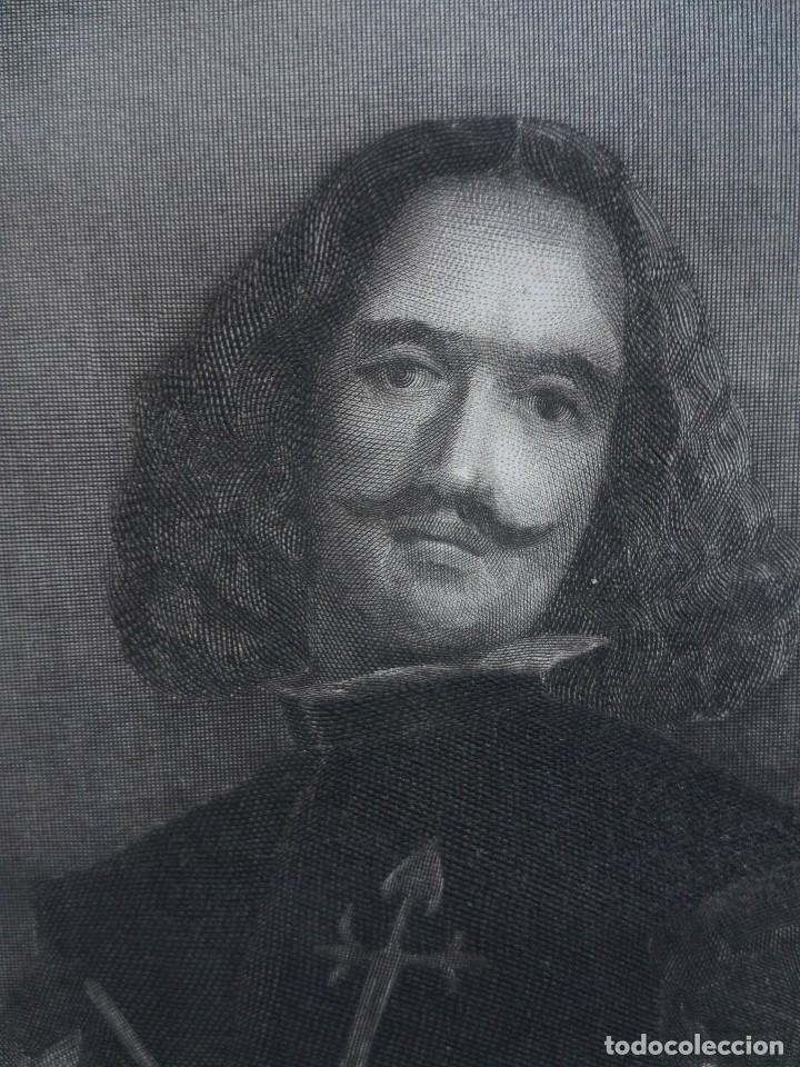 Arte: Retrato de Velázquez, Federico Navarrete dibujó y grabó.Calcografia Nacional. Aguafuerte. Ca 1870 - Foto 6 - 127126355