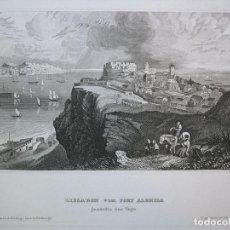 Arte: VISTA DEL FUERTE DE ALMEIDA (LISBOA, PORTUGAL), 1840. INS. HILDBURGHAUSEN/GRÜNEWALD. Lote 127414079