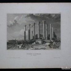 Arte: VISTA DE LAS RUINAS ARUQEOLÓGICAS DE JERASH (SIRIA, ASIA), 1840. INS. HILDBURGHAUSEN/ POPPEL. Lote 127415071